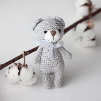 Вязанная игрушка Баловень Teddy Bear Gray