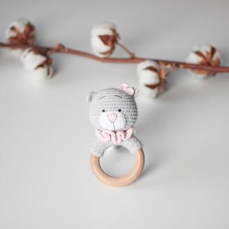 Вязанная погремушка с кольцом Баловень Teddy Bear PG