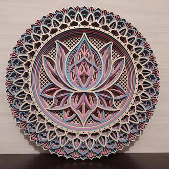 Мандала Lotus. Многослойная картина из дерева