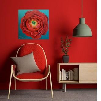 Интерьерная картина с большим красным цветком ранункулюса
