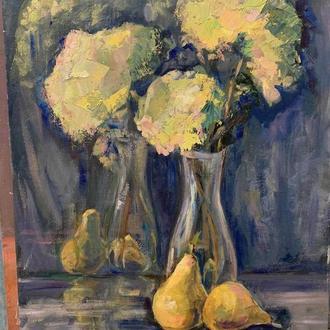 Картина маслом «Гортензия и груши»