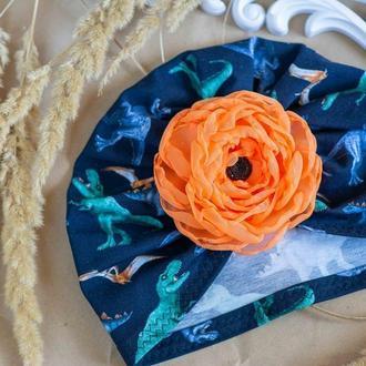 шапочка чалма для девочки Динозавры с цветком