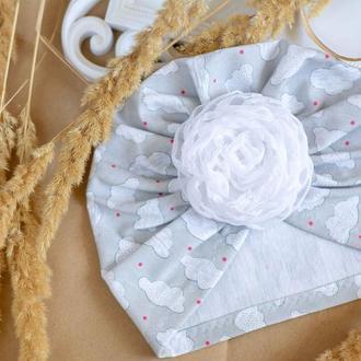 шапка чалма для девочки, с цветком на липучке