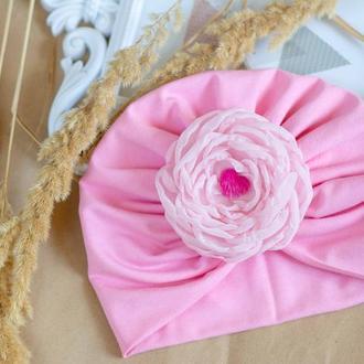 шапка чалма для девочки с цветком на липучке