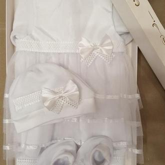 Одяг теплий для хрещення новонародженої дівчинки