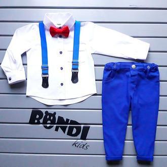Нарядный костюм для мальчика, электрик, белый с красной бабочкой 80