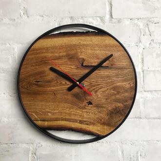 Настенные деревянные лофт часы с живым краем (Live Edge)