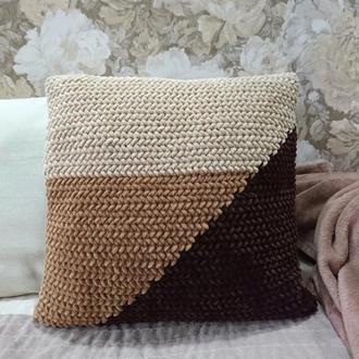 Вязаная подушка Color Block