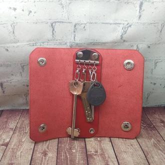 Ключница из кожи на 4 карабина