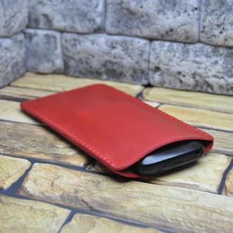 Красный кожаный чехол-карман для телефона H08-580