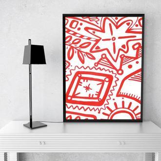 Картина белая с красным, Абстрактная вышивка в украинском этно стиле, Минималистичный орнамент