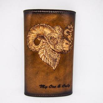 Кожаный кисет для табака, кисет для табака с рисунком овен, подарок курильщику