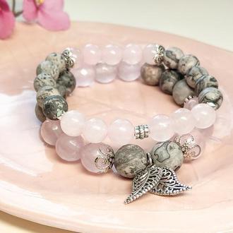 Браслет из натуральных камней, браслет из яшмы, браслет из розового кварца,набор браслетов
