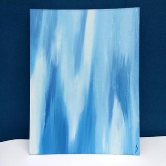 """Голубая минималистичная картина """"Вода, воздух, покой"""""""
