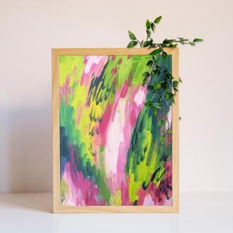 """Абстрактна картина """"Квіти у сні"""" в інтерєр спальні"""