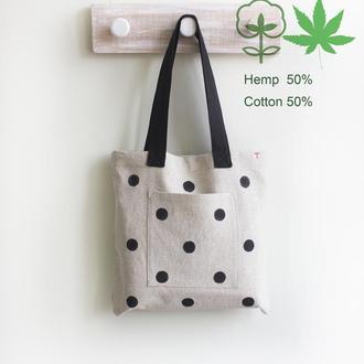 Сумка Шоппер в горошек. Конопля и Хлопок. Городская сумка для различных дел и покупок -  (НА ЗАКАЗ)