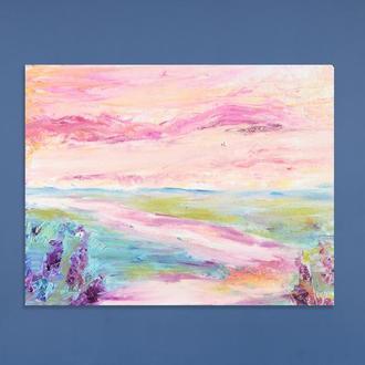 Розовый рассвет, абстрактный пейзаж, картина Масло на холсте Картина в спальню