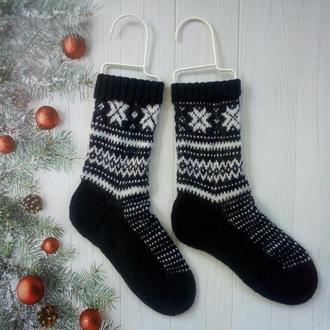 Мужские вязаные носки в норвежском стиле