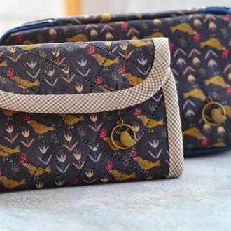 Текстильный комплект пенал + органайзер  Птицы на темном