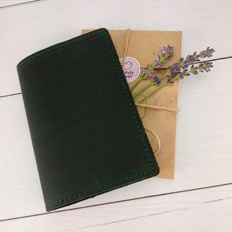 Обложка на паспорт кожаная HandyCover HC0073 зеленая