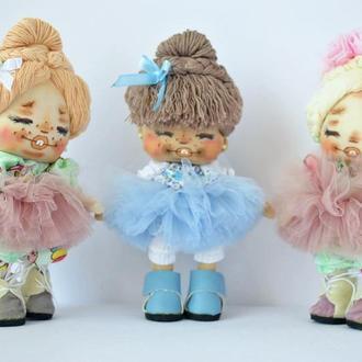Кукла текстильная шатенка в голубом