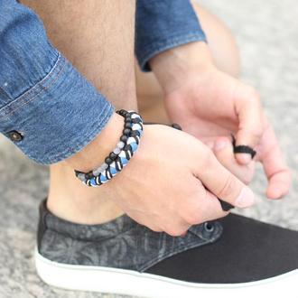 Браслеты из натуральных камней и паракорда, комплект плетеных браслетов