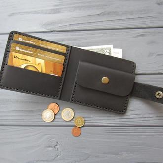 Классическое черное мужское портмоне ручной работы из винтажной кожи_подарок мужчине