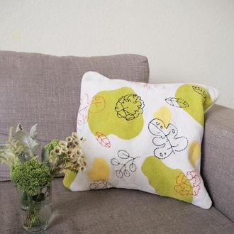 Вышитый чехол на подушку / декоративная подушка / ковровая вышивка
