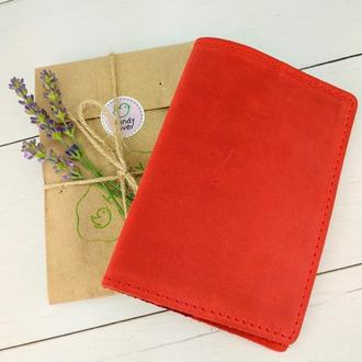 Обложка на паспорт кожаная HandyCover HC0073 красная