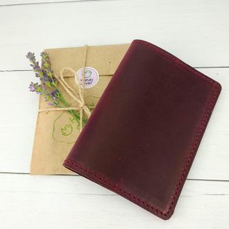 Обложка на паспорт кожаная HandyCover HC0073 бордовая