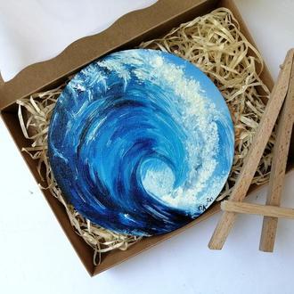 Картина маслом морская волна, Круглая картина, Необычная картина маслом, Авторская живопись