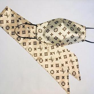 Маска многоразовая + платок повязка twilly , комплект.