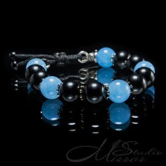 Детский браслет из бусин чёрного турмалина и голубого кварца
