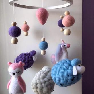Мобиль детский из шерсти единорог овечки сова мобиль на кроватку для девочки