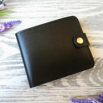 Черный маленький кожаный кошелек мужской портмоне бумажник  на кнопке ручной работы Украина