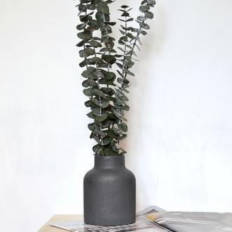 """Эвкалипт стабилизированный в вазе из бетона """"Nordic"""""""