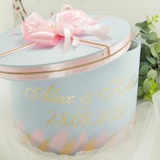 Сундук для денег розовый / Скриня для грошей голуба / Коробка весільна золота / Для свадьбы
