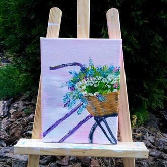 Картина маслом «Кошик польових квітів», 13х18