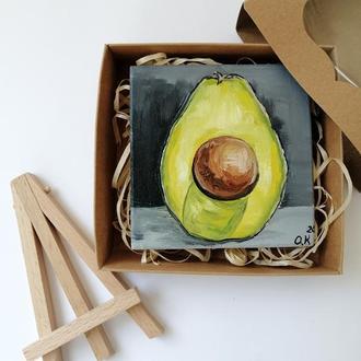 Подарочный бокс авокадо, Картина с авокадо, Картина на подарок, Оригинальный подарок
