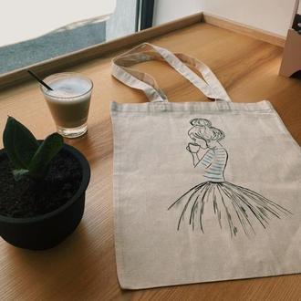 Еко-сумка Девушка с кофе