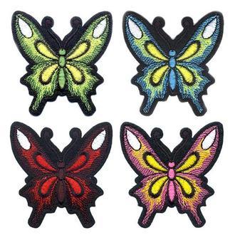 Вышитые нашивки на одежду Embroidery Бабочки набор №4 75х80 мм (68709)