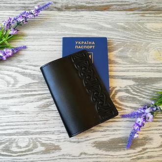 Обложка на паспорт кожаная черная с тиснением  кельтский узел Украина ручная работа