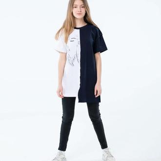 Стильная необычная черно-белая футболка дизайн от Kоmashnaya