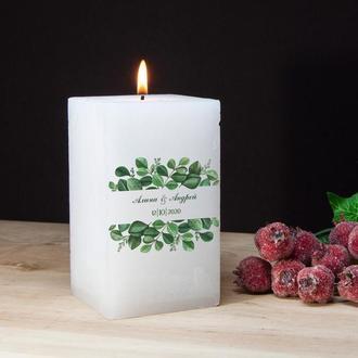Свеча для свадьбы в стиле Greenery, декоративная свеча