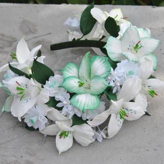 Обруч для девочки с лилиями Ободок женский с тропическими цветами Ободок для невесты