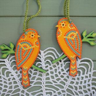 Деревянные птички-подвески с точечной росписью / декор для дома / пасхальные птички