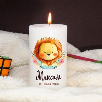 Свеча на крестины, декоративная свеча, подарок крестным родителям