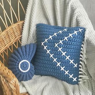 Подарочный набор подушка декоративная ракушка наутилус крючком набор для интерьера декор для дома