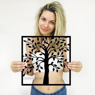 """Деревянная картина-панно """"Дерево в рамке"""""""