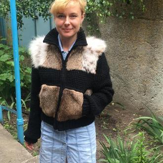 Куртка вязаная с мехом